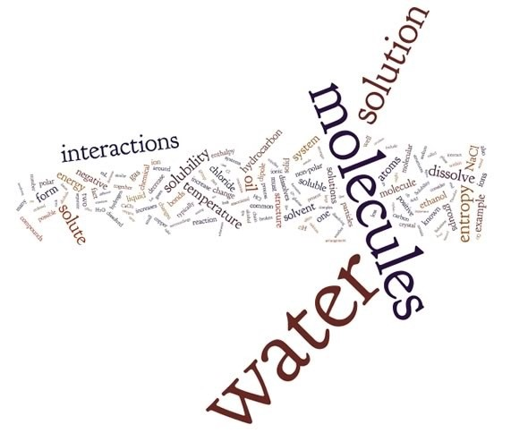A word cloud with the words, water, molecules, solution, and interactions being the biggest words.