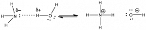 "An image of three structures. The first structure starts with the letter N that has two dots to the right and a label of ""sigma -"" and it is connected to three letter H's on the top, left, and bottom side. From the two dots there is a dotted line that is attached to a letter H that has a label of ""sigma +."" And that letter H is connected to a letter O to the right side which has two dots to the bottom left and right side. That letter O is also connected to another H to the top side. Next to the structure there are two arrows one pointing left and the other pointing right. The second structure starts with N in the middle with a ""+"" and has four letter H's on every side. And then to the right, the third structure is a letter O with two dots on the top, left, and bottom side. The letter O has a label of ""-"" and is connected to a letter H to the right side."