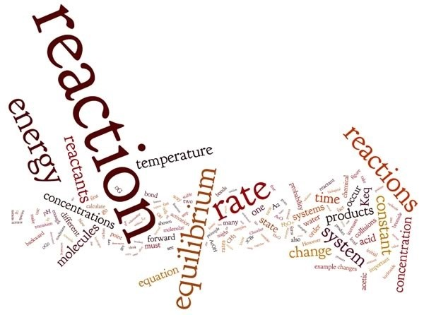 An image of a word cloud with the biggest words being: reaction, energy, equilibrium, rate, and temperature.
