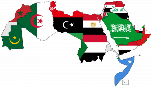 Map of Arab world with flags