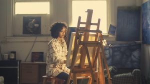 girl making a painting