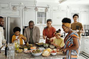 family preparing dinner in the kitchen