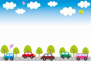 illustration of five cars in street