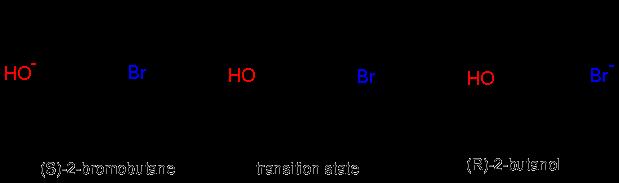 An image of (S)-2 bromobutane and (R)-2-butanol.