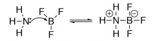 A Lewis model of the reaction of ammonia (NH3) and boron trifluoride (BF3).