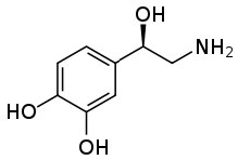 A lewis structure of norepinephrine.