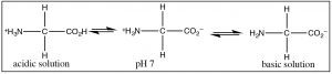 A Lewis structures of acidic solution, pH7, and basic solution.