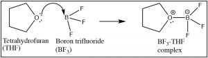 Lewis structure of Tetrahydrofuran (THF), Boron trifluoride (BF3), and BF3-THF complex.