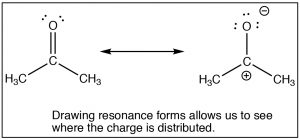 A resonance structure that shows where the charge is distributed.