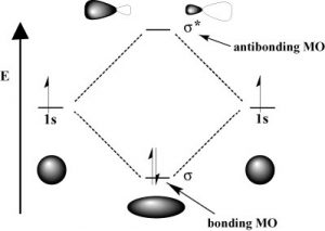 A model of molecular hydrogen bonding.