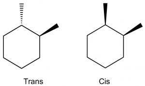 An image of 3-D structures of Trans and Cis.