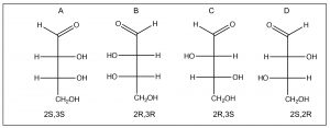 An image of Fischer projections of four carbon sugar.