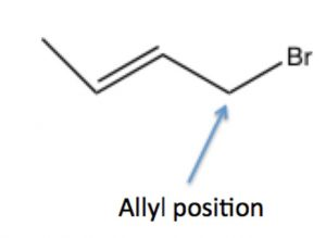 An image of a lewis structure of allylic position.