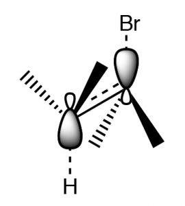 An image of a 3-D model an E2 reaction.