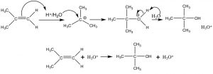 An image of carbocation that is attacked by water (the nucleophile).
