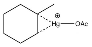 An image of a reaction that involves a mercury-stabalized cation.