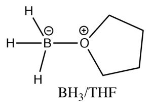 An image of BH3/THF as a Lewis acid-base complex.