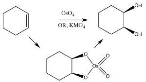 An image of permangante and osmium tertroxide.