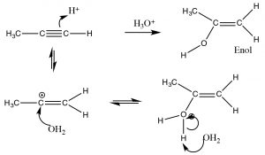 An image of an addition of H2O across a triple bond.