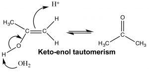 An image of Keto-enol tautomerism.