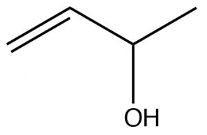 An image of a lewis structure of alcohol.