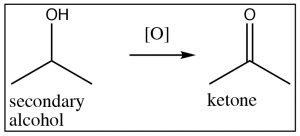 An image of tertiary alcohol oxidizing to NR.