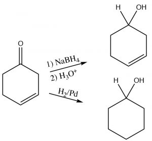 An image of reagent/catalyst since it would also reduce the double bond.