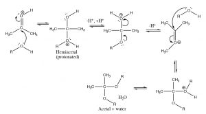 An image of a reaction when hemiacetal is pronated.