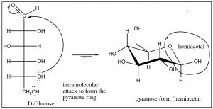 An image of a reaction of intramolecular attack to form the pyranose ring.