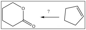 An image of a synthesis of the lactone from cyclopentene.