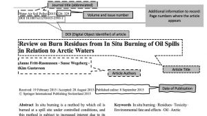 """Screenshot of a scholarly article showing where to find the different things you need for a bibliography. The journal name is """"Water Air Soil Pollution"""" at the top of the page. The volume number is next to the journal name and is 226. The DOI of the article is underneath the journal name and labeled with DOI. There is a line separating the page and the article title is """"Review on burn residues from in situ burning of oil spills in relation to Arctic Waters."""" The author names are underneath the title and are Janne Fritt-Rasmussen, Susse Wegeberg, and Kim Gustavson. The date of publication is underneath the authors and is 2015."""