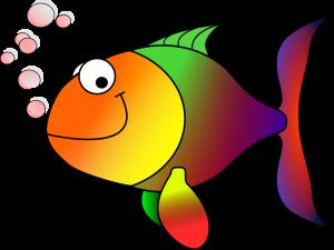 cartoon smiling rainbow fish